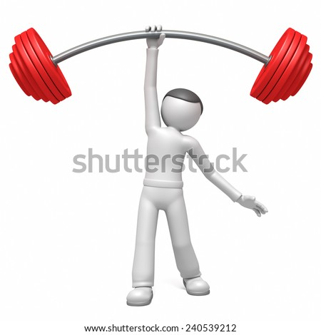 3d man  lifting weights  - stock photo