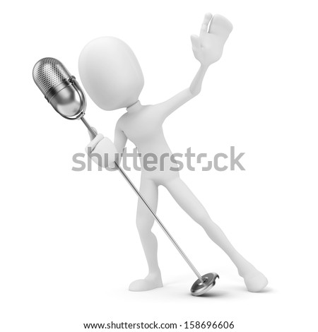 3d man live on stage on white background