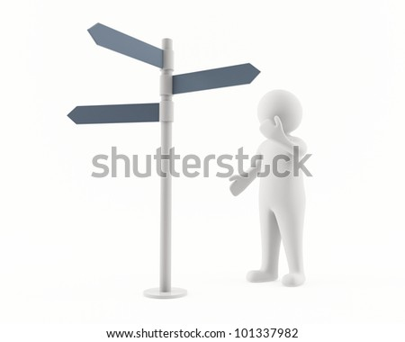 3D man looking at a sign post - stock photo