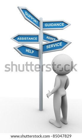 3d man looking at signpost for getting support and assistance - stock photo