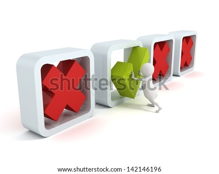 3d man make choice by large checklist - stock photo