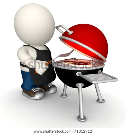 3D man making a BBQ on the charcoal grill - isolated - stock photo