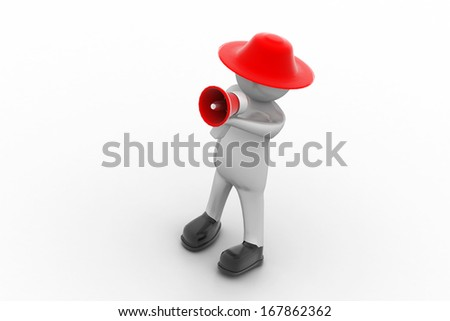 3d man making announcement over loudspeaker