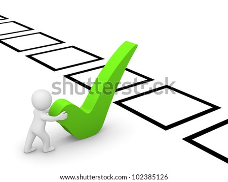 3d man making one's choice - stock photo