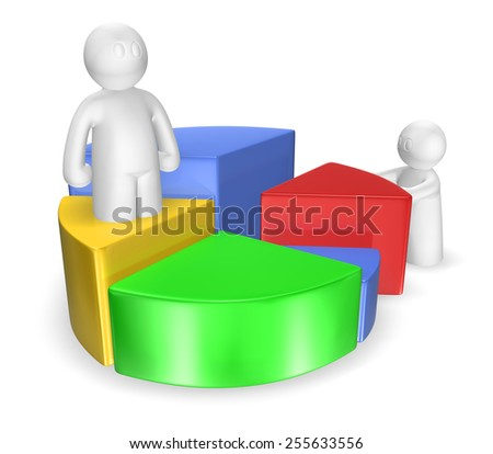 3d man making statistics chart on white background, isolated - stock photo