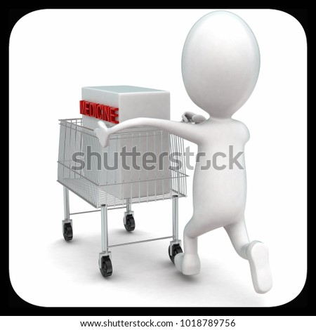 3d man moving a trolley with a medicine box in it concept in white isolated background , back angle view
