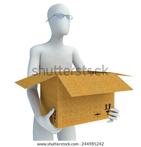 3D man moving house and carrying box - stock photo