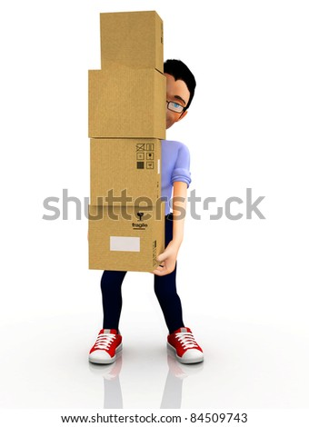 3D man moving house and carrying boxes ? isolated - stock photo