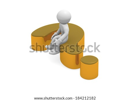 3d man on a golden question mark - stock photo