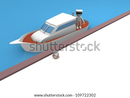 3d man on a luxury motor yacht - stock photo