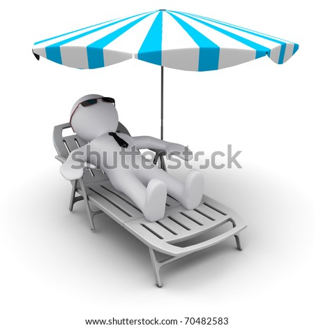 3D man on th ebeach under sun umbrella