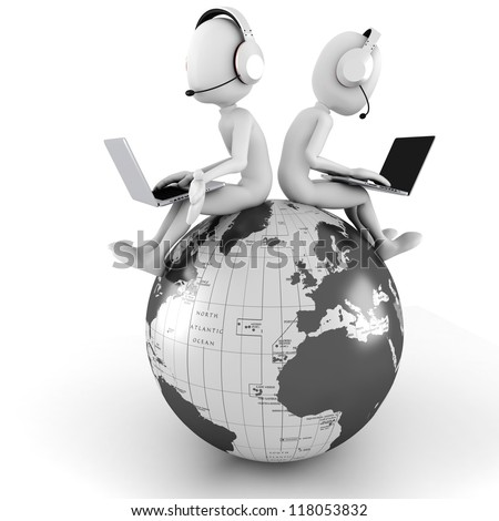 3d man online call center - stock photo