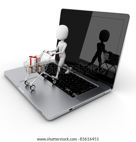 3d man online shopping, e-commerce concept - stock photo