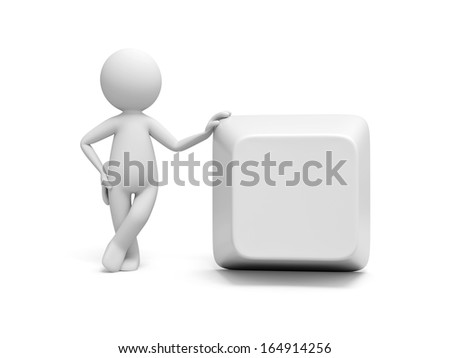 3d man, people, person standing with hand on computer key - stock photo