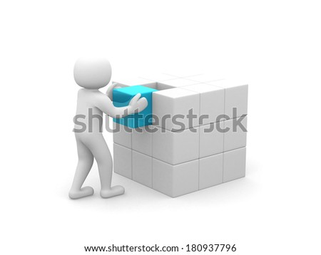 3d man - people with cubes . 3d render