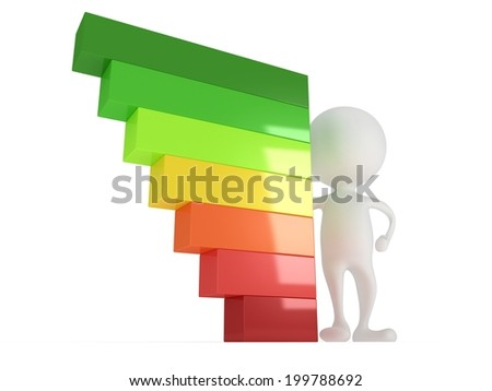 3D man person and energy efficiency chart stand on white back