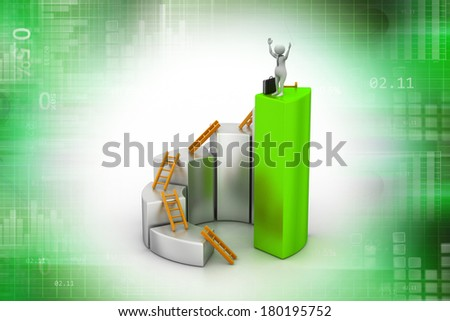 3d man, person climbing ladder using  up to  bar chart - stock photo