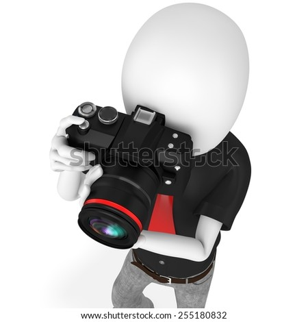 3d man photographer with dslr camera on white background - stock photo