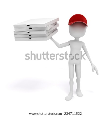 3d man, pizza delivery - stock photo