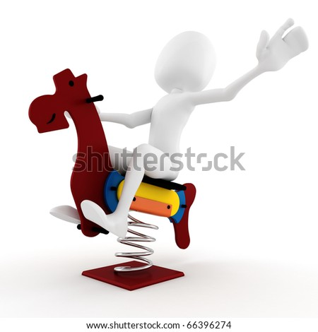 3d man playing with a wooden horse toy - stock photo