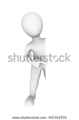 3d man pointing to empty board. 3d illustration.