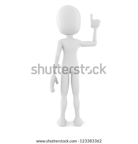 3d man pointing up