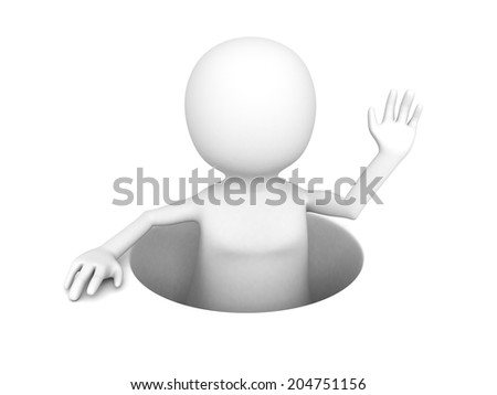3D man popping out from a hole. 3d render illustration - stock photo