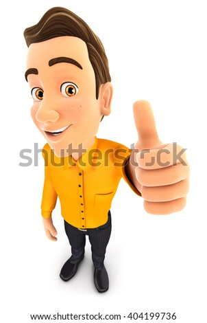 3d man positive pose with thumb up,, illustration with isolated white background