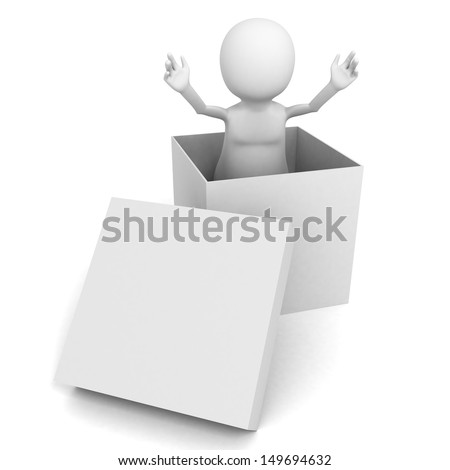 3d man presentation coming out of white box - stock photo