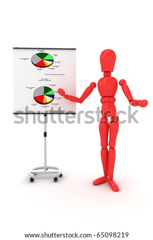 3d man presenting - stock photo