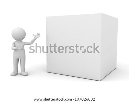 3d man presenting blank box on white background - stock photo