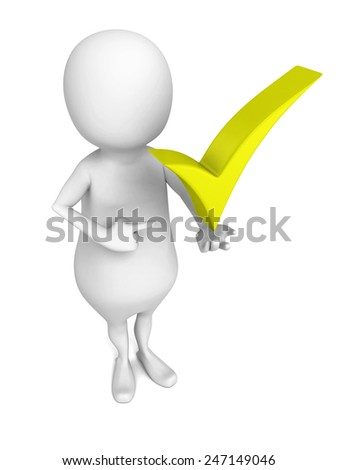3d man presenting green check mark on white background. 3d render illustration - stock photo