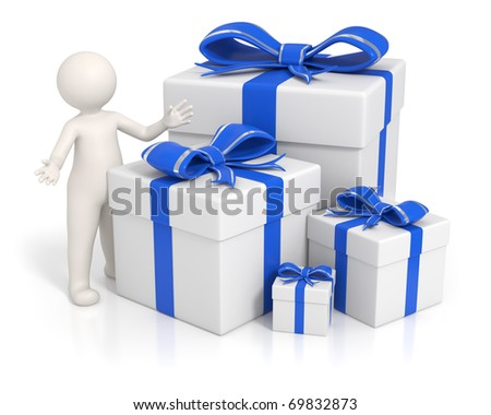 3d man presenting the blue gift boxes - Isolated - stock photo