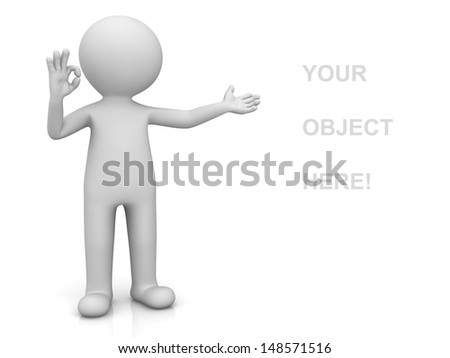 3d man presenting your product and showing okay hand gesture isolated over white background with reflection - stock photo