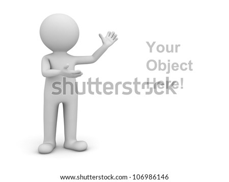 3d man presenting your product over white background - stock photo