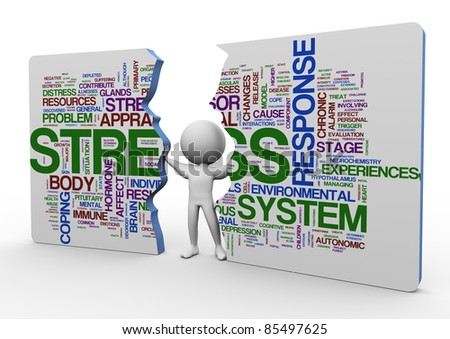 3d man pushing broken rectangle of stress wordcloud - stock photo