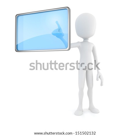 3d man pushing on a virtual screen