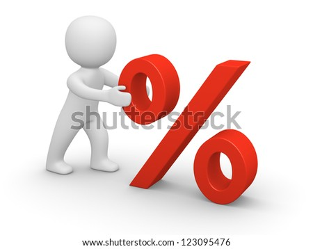 3d man pushing red percent sign. 3d rendering. - stock photo