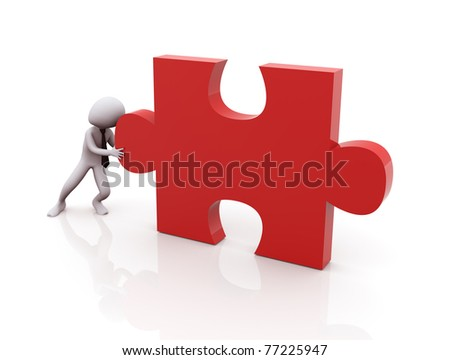 3d man pushing red puzzle piece