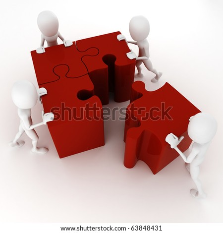3d man pushing some puzzle pieces - stock photo