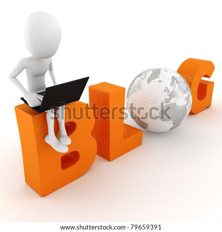 3d man reading a blog - stock photo