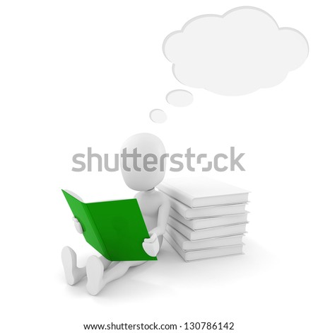 3d man reading a book with bubble talk above his head - stock photo