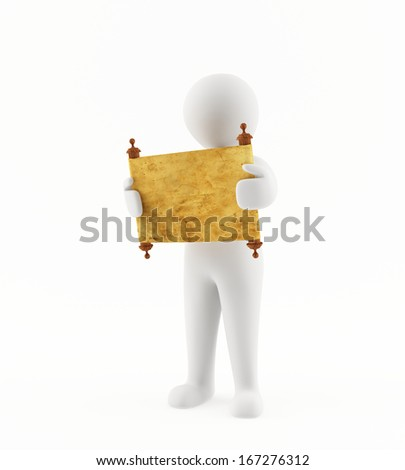3D man reading an ancient scroll - stock photo