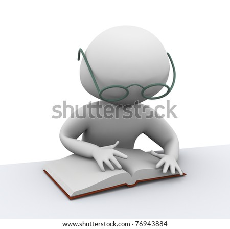 3d man reading book on white background