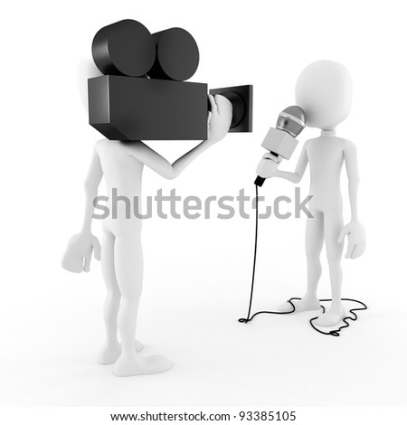3d man reporter - interview - stock photo