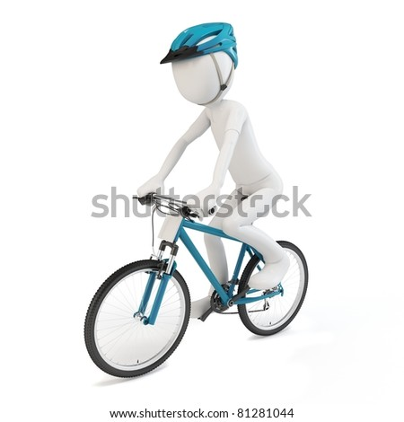 3d man riding a competition bike  isolated on white - stock photo