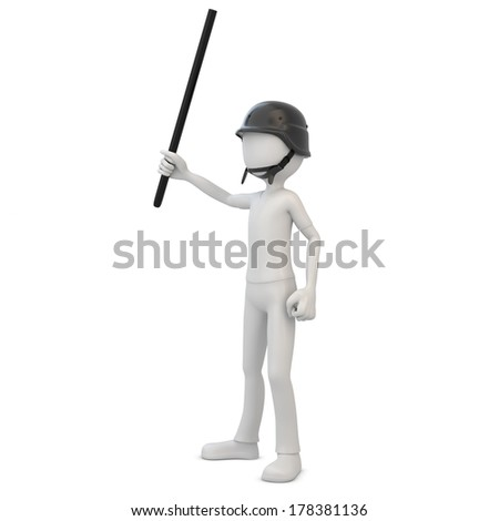 3d man riot police with baton on white background - stock photo