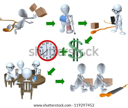 3d man risk management accident example of the workplace - stock photo