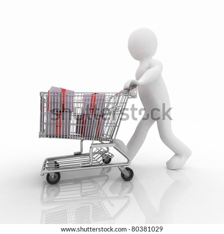 3d man rolls the shopping cart with gifts - stock photo