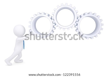 3d man rotate the gears. Isolated render on a white background - stock photo